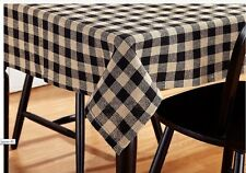 Black & Tan Burlap Check Cotton Country Kitchen Tablecloth