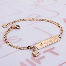 """18k Gold Plate Small Baby Chained Bracelets 6"""" for Children  for Girls and Boys"""
