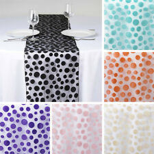 "6 pcs 14x108"" Sheer Organza TABLE RUNNERS with Velvet Dots Wedding Party Linens"
