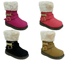 Baby Girls Childrens Kids Zip Buckle Casual Flat Pumps Boots Shoe Size 4-7.5 UK