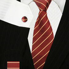 Red & Gold Striped Ties Set | High Quality Neckties - Cufflinks & Handkerchief