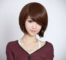 New Style Hot Fashion Short Brown Straight Bob Hair Women Girl Full Party Wigs