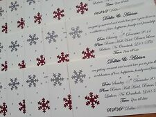Handmade Day / Evening Wedding Invitations snowflakes  * Winter Christmas theme