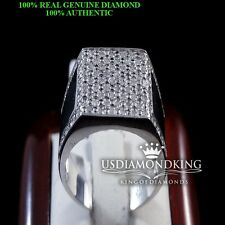 MEN'S NEW GENUINE REAL DIAMOND 925 STERLING SILVER WHITE GOLD FINISH PINKY RING
