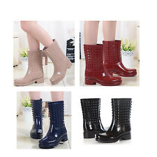 New  Fashion Women Low Snow Rain Mid Boots Rivet Cool Rubber Shoes Free Shipping