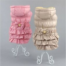 Pink/Khaki Winter dog warm Jacket coat with bow design, pet puppy hoody clothes