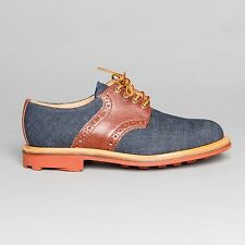 Mark McNairy Denim/Brown Saddle Derby Shoes Red Ridgeway Sole