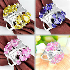 HUGE ! New Stylish Citrine & Pink Topaz & Amethyst Gemstone Silver Ring Sz 6 7 8