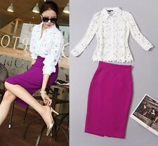 new style Occident fashion Hollow out water soluble flowers shirts+skirts suits