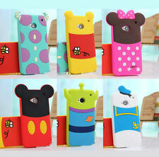 New Cute 3D Cartoon Back design soft rubber silicone case cover for HTC One M7
