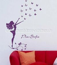 Wall Stickers Decal Girl Butterfly Flower Baby Child Girl Custom Name