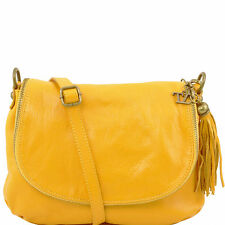 TUSCANY LEATHER soft leather shoulder bag made in Italy with tassel detail