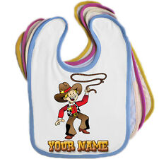 COWBOY PERSONALISED BABY BABIES BIB - ANY NAME /TEXT / EDGE COLOUR *GREAT GIFT*