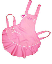 Lady in Pink Ruffled  Apron Rockpoint custom embroidered name Cancer awareness