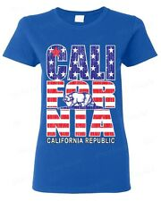 California Republic American flag vintage WOMEN T-SHIRT state bear USA flag tee