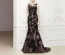 Evening Lace Bridal Applique Wedding Gown Prom Formal Party Long Dresses Black