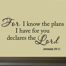 For I Know the Plans I Have For You Bible Wall Decal Christian Quote Nursery