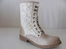 New ROXY Womens Beige Vintage Lace Concord Mid Calf Fashion Motorcycle Boots $84