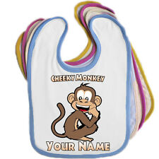 CHEEKY MONKEY PERSONALISED BABY BIB - ANY NAME / EDGE COLOUR *GREAT BABIES GIFT*