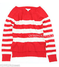 NWT 77KIDS AMERICAN EAGLE Girls 10 & 12 Red Stripe Sweater Pullover TOP NEW