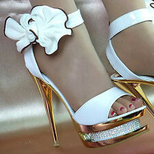 Beautiful Gorgeous Ankle Bows Crystal Wedding Banquet High Heels