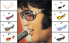 Elvis Costume Metal Aviator Sunglasses Vintage Motorcycle Gold Silver Blue Red