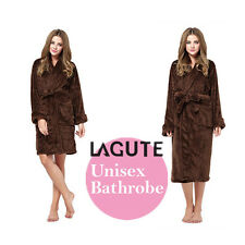 LAGUTE Unisex Bath Robe Dressing Gown Brown Warm Plush Steaming For Men/Women