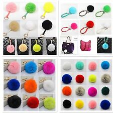 New Natural Genuine Soft Rabbit Fur Ball Key Chain For HandBag Phone Car Pendant