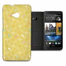 Retro Yellow Swirls 60s Phone Hard Shell Case for HTC One M7 Mini Desire Evo &..