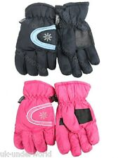 WOMENS LADIES THERMAL THINSULATE WINTER WARM WATERPROOF SKI GLOVES PINK BLUE