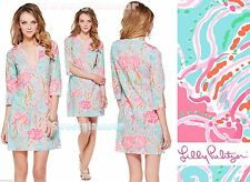 $158 Lilly Pulitzer Spa Blue Jellies Be Jammin Courtney Beaded Tunic Dress XL