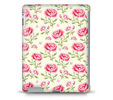 Pink Roses with Green Leaves Tablet Hard Shell Case for iPad, Kindle, Samsung ..