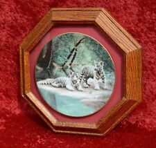 Octagon Solid Oak Wood Plate Collectors Hanging Display Picture Frame Holder EUC