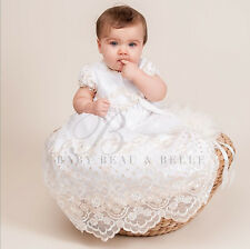 """Baby Beau & Belle gold """"Gwen"""" girls cotton Christening, Blessing, Baptism gown"""