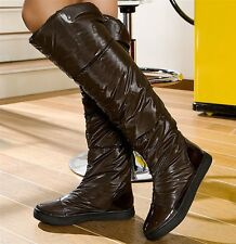 NEW WOMEN LADIES BROWN OVER-KNEE HIGH WINTER BOOTS WITH RUBBER SOLE UK 3-8