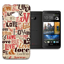 Love Typography Phone Hard Shell Case for HTC One M7 Mini Desire Evo & more