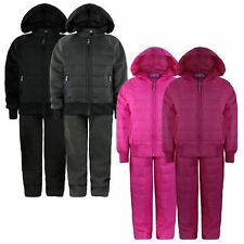 KIDS QUILTED TRACKSUITS BOYS GIRLS HOODED TOP JOGGING BOTTOMS 2 PIECE SUIT 3-14Y