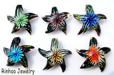Hot Bulk 6Colors Cute Starfish Flower In Lampwork Glass Pendant Necklace Jewelry
