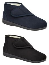 Mens Micro Suede Fur Lined Velcro Boots Slippers BLUE BLACK 6 7 8 9 10 11 12