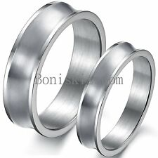 6mm / 4mm Silver Stainless Steel Concave Wedding Anniversary Band Couples Ring