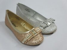 Girl Flats Glitter Shoes (Chrom) Youth Princess Flower Girl Costume Silver Gold