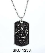 Antique Men's Fleur De Lis Dog Tag Pendant Necklace Jewelry in Stainless Steel
