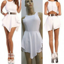 Sexy Lady Celeb Evening Cocktail Party White Playsuit Romper Jumpsuit Dress