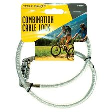 Bicycle Combination Lock 70cm x 8mm Cycle Cycling Bike Spiral Cable Chain UK
