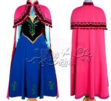 New syle FROZEN Princess Anna Dress/Cloak Suit Adult Girl Cosplay Costume