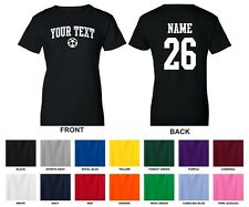 Custom Your Text & Number Personalized Women's Soccer Ball T-shirt, ARCHED TEXT