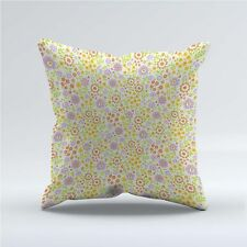 SUEDE STYLE 18x18 Inch FILLED THROW CUSHION - 70s Yellow Floral p2 Vintage Retro
