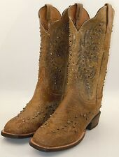 Lucchese CY2503.W8S Womens Tan Studded Leather Western Cowboy Boots Made in USA