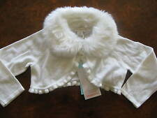 Bnwt MONSOON Ivory Shrug Fur Collar Cardigan Wedding Christmas Party 2-3 yrs