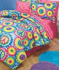 Tie Dye Peace Sign Comforter Sham Sheets Pillowcase Set Twin Full Queen NEW